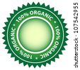 100% Organic green label. Center copy space for your text. - stock vector