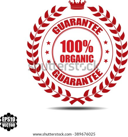 100% organic, Label, Sticker or Icon Isolated on White Background.Vector - stock vector
