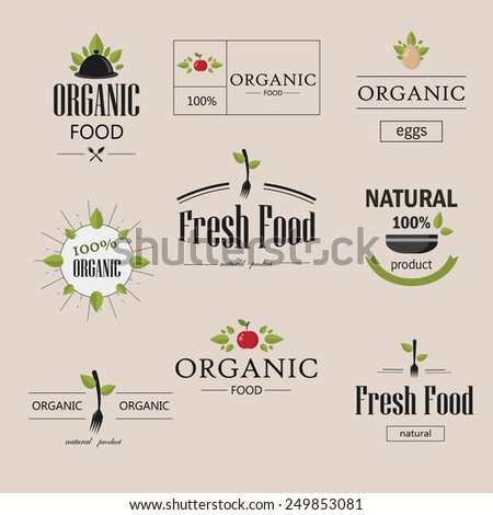 Organic natural food vector logotypes set. Labels and badges set - stock vector