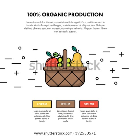 100% Organic Production One Page Web Design Template Layout. Infographic and web developing graphic resource. Promotion of healthy and fresh food. Vector Illustration