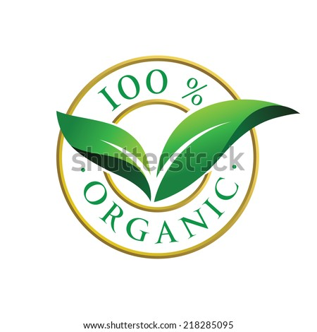 100% organic sign with green leaves. Vector - stock vector