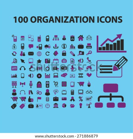 100 organization, management, presentation icons, signs, illustrations set, vector - stock vector