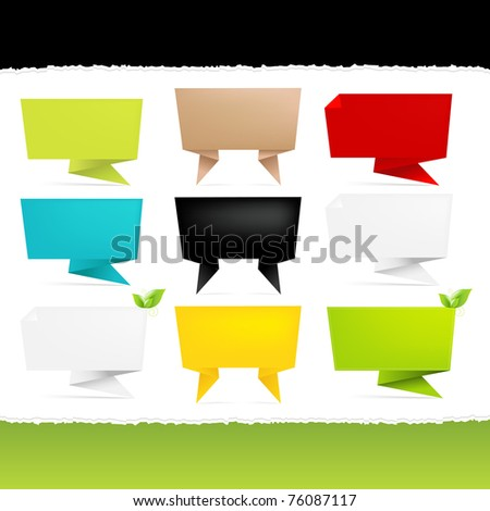 9 Origami Paper Banner, Isolated On White Background, Vector Illustration - stock vector