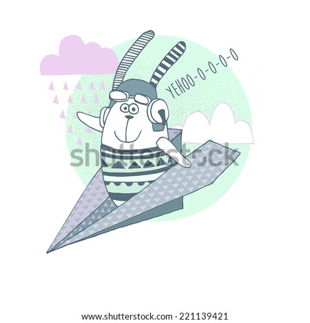 Origami Style background .Card design with cute bunny in airplane - stock vector