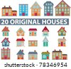 20 original houses, icons, signs, vector illustrations - stock photo