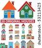 20 original houses. vector - stock vector