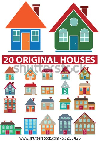 20 original houses. vector - stock vector