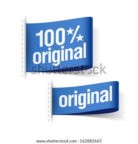 100% original product labels. Vector. - stock vector