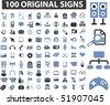 100 original signs. vector - stock vector