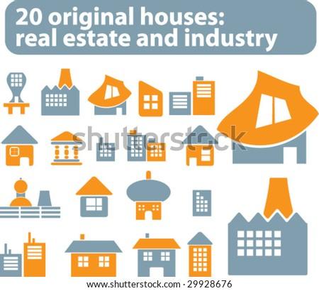 20 original vector houses - stock vector