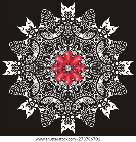Ornamental lace pattern for wedding invitations and greeting cards.Traditional white,red decor on black background. Ornate element for design.Flower fashion print shine from brilliant stones. - stock vector