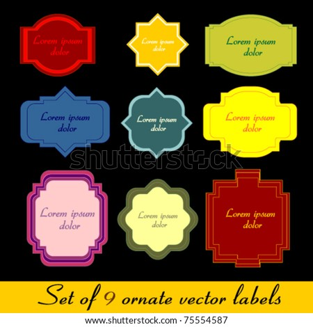 9 ornate labels
