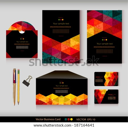 ?orporate Identity. Vector templates. Geometric pattern. Envelope, cards, business cards, tags, disc with packaging, pencils, clamp. With place for your text - stock vector