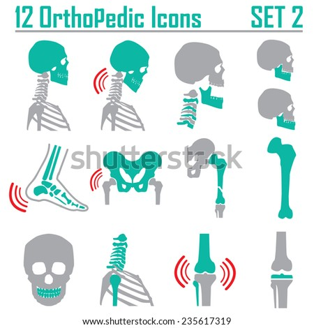 12 Orthopedic and spine symbol Set 2 - vector illustration eps 10 mono symbols  - stock vector
