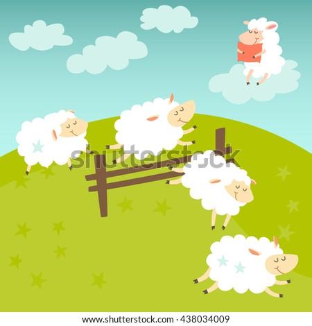 ?ounting sheep. Cartoon happy sheep for baby. Cartoon character sheep on meadow. Sweet dreams. Jumping sheep, insomnia. Vector illustration - stock vector