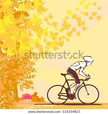 outdoor autumn bike riding - stock vector
