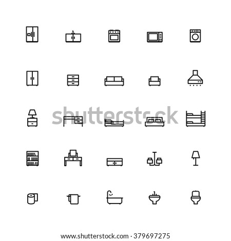 25 Outline Furniture Icons This icons have clean pixel lines. - stock vector