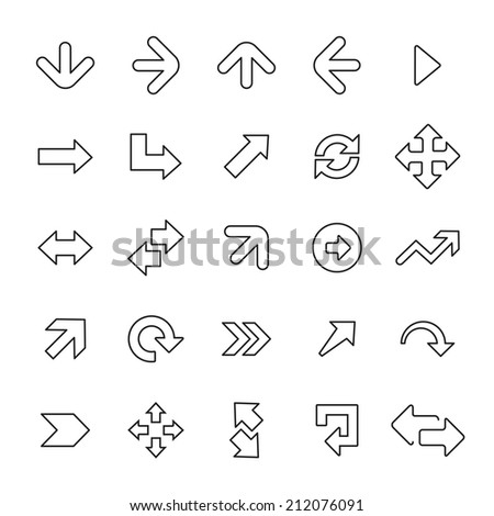 25 outline, universal Arrows icons, thin, black on white background  - stock vector