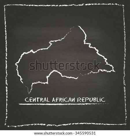 Outline vector map of Central African Republic hand drawn with chalk on a blackboard. Chalkboard scribble in childish style. White chalk texture on black background - stock vector