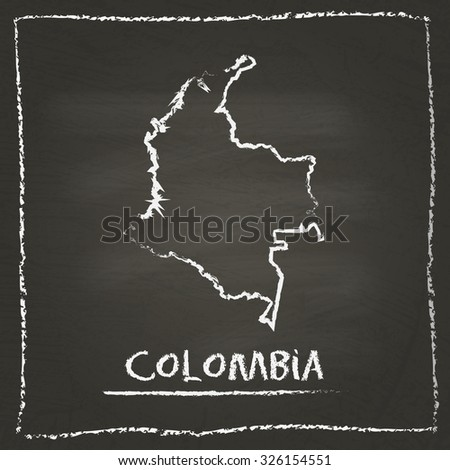 Outline vector map of Colombia hand drawn with chalk on a blackboard. Chalkboard scribble in childish style. White chalk texture on black background - stock vector