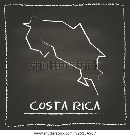 Outline vector map of Costa Rica hand drawn with chalk on a blackboard. Chalkboard scribble in childish style. White chalk texture on black background - stock vector