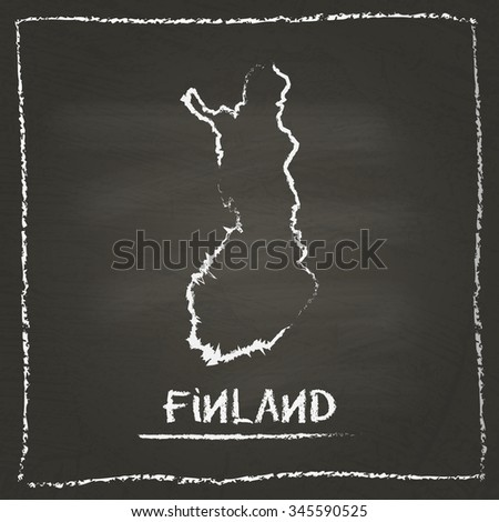 Outline vector map of Finland hand drawn with chalk on a blackboard. Chalkboard scribble in childish style. White chalk texture on black background - stock vector