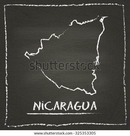 Outline vector map of Nicaragua hand drawn with chalk on a blackboard. Chalkboard scribble in childish style. White chalk texture on black background - stock vector