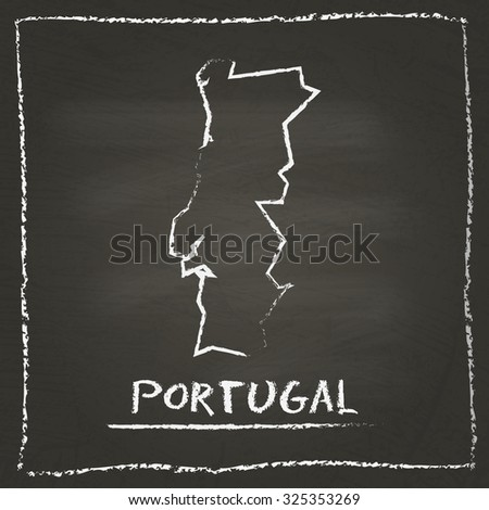 Outline vector map of Portugal hand drawn with chalk on a blackboard. Chalkboard scribble in childish style. White chalk texture on black background - stock vector