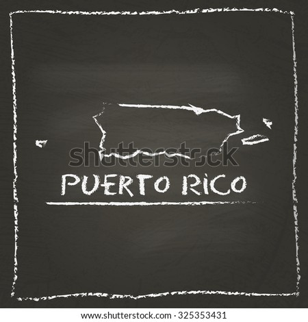 Outline vector map of Puerto Rico hand drawn with chalk on a blackboard. Chalkboard scribble in childish style. White chalk texture on black background - stock vector