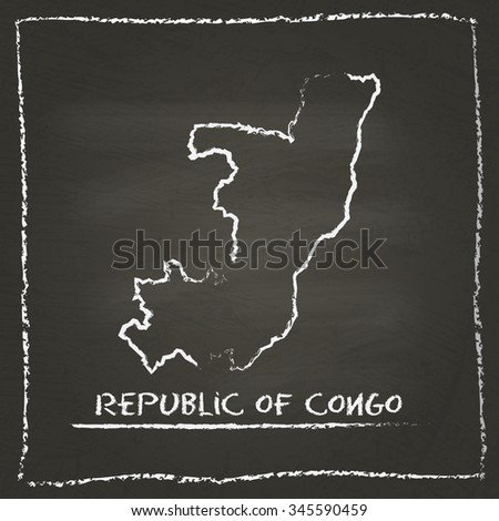 Outline vector map of Republic of Congo hand drawn with chalk on a blackboard. Chalkboard scribble in childish style. White chalk texture on black background - stock vector