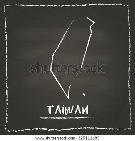 Outline vector map of Taiwan hand drawn with chalk on a blackboard. Chalkboard scribble in childish style. White chalk texture on black background - stock vector