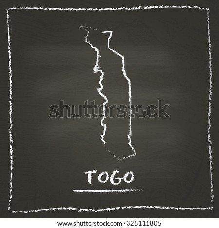 Outline vector map of Togo hand drawn with chalk on a blackboard. Chalkboard scribble in childish style. White chalk texture on black background - stock vector