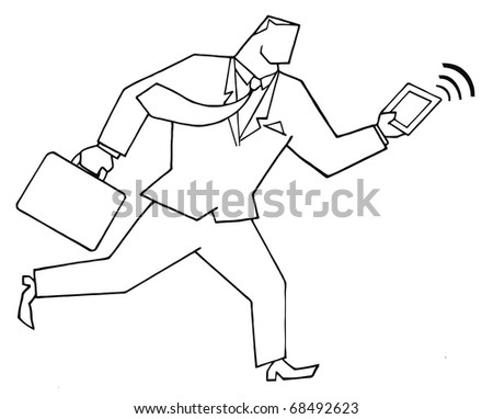 Outlined Businessman Running With Suitcases And Tablet