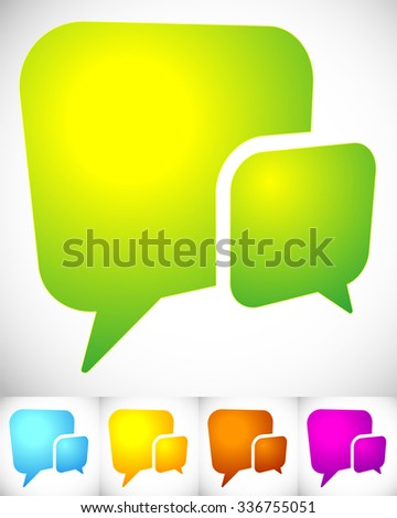 2 overlapping, squarish speech, talk bubbles for communication, chat, support concept - stock vector