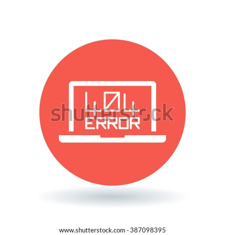 404 page not found error icon. Internet error sign. Laptop browser error symbol. White notebook 404 error icon on red circle background. Vector illustration. - stock vector
