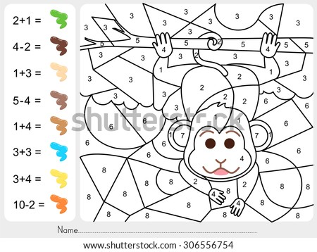 Paint Color By Numbers Worksheet Education Stock Vector 306556754 ...