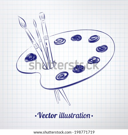 Paint palette drawn on checkered paper. Vector illustration. isolated. - stock vector