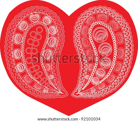 Paisley Vector Illustration on heart shape background - stock vector