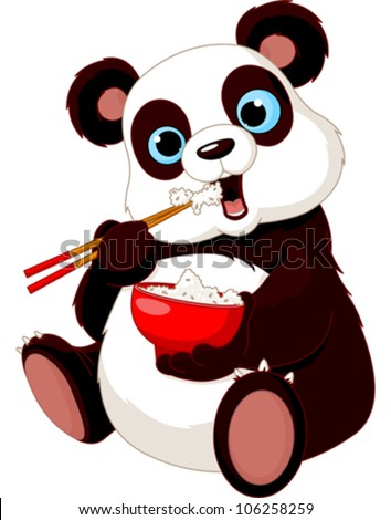 Panda eating rice with chopsticks - stock vector