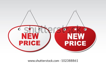 2 panels with text - New price. Vector
