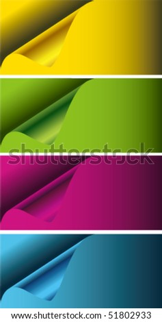 paper  banner with curl - stock vector