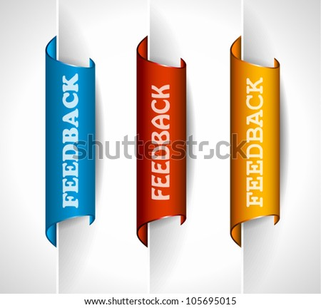 3 paper stickers tag for feedback button with high contrast colours, real paper effect and transparent shadows