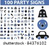 100 party icons, signs, vector illustration set - stock vector
