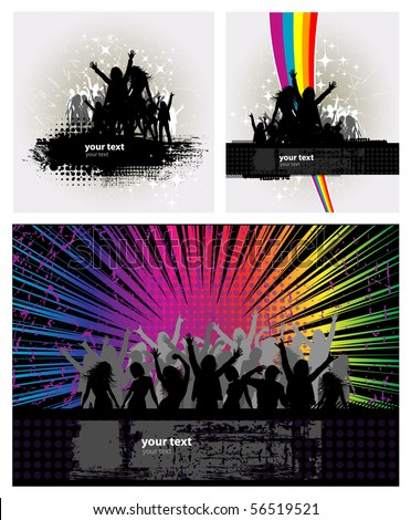 3 Party peoples, audience cheering success vector background with rainbow - stock vector