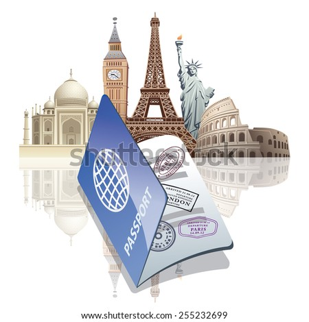 passport and landmarks - stock vector