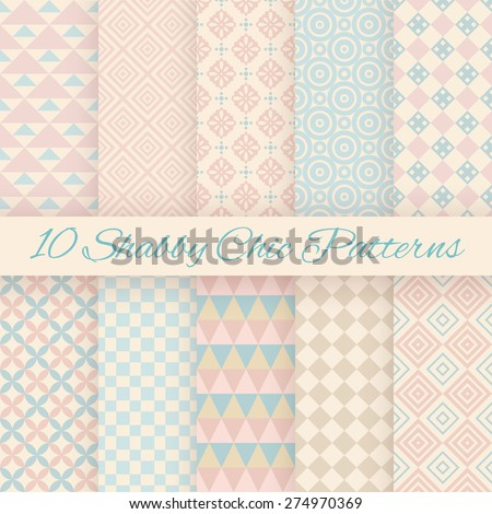 10 Pastel retro different vector seamless patterns. Endless texture can be used for wallpaper, pattern fills, web page background, surface textures. Set of shabby geometric ornaments. - stock vector