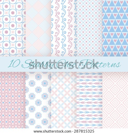 10 Pastel retro different vector seamless patterns. Endless texture can be used for wallpaper, pattern fills, web page background, surface textures. Set of cute shabby chic ornaments. - stock vector