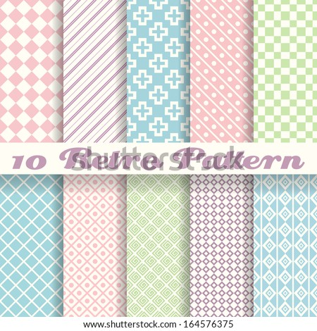 10 Pastel retro different vector seamless patterns (tiling). Endless texture can be used for wallpaper, pattern fills, web page background, surface textures. Set of monochrome geometric ornaments. - stock vector