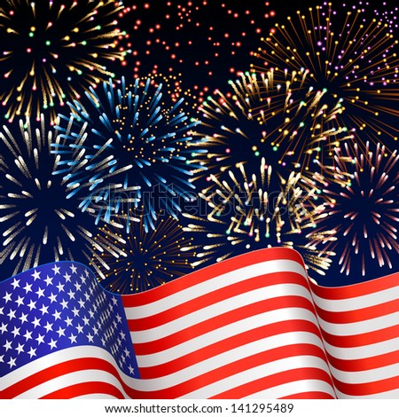 Patriotic background with fireworks, EPS 10, contains transparency. - stock vector