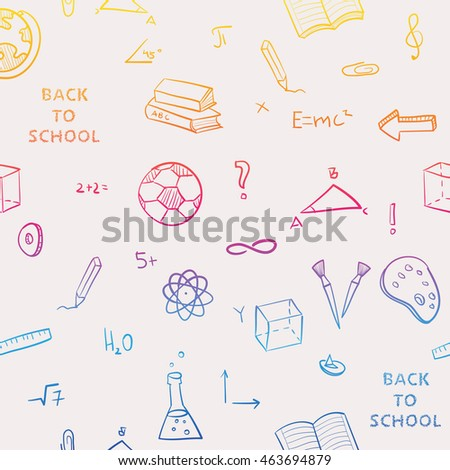 Seamless pattern back school kids doodles vectores en stock pattern back to school of kids doodles with bookspen and world map gumiabroncs Images